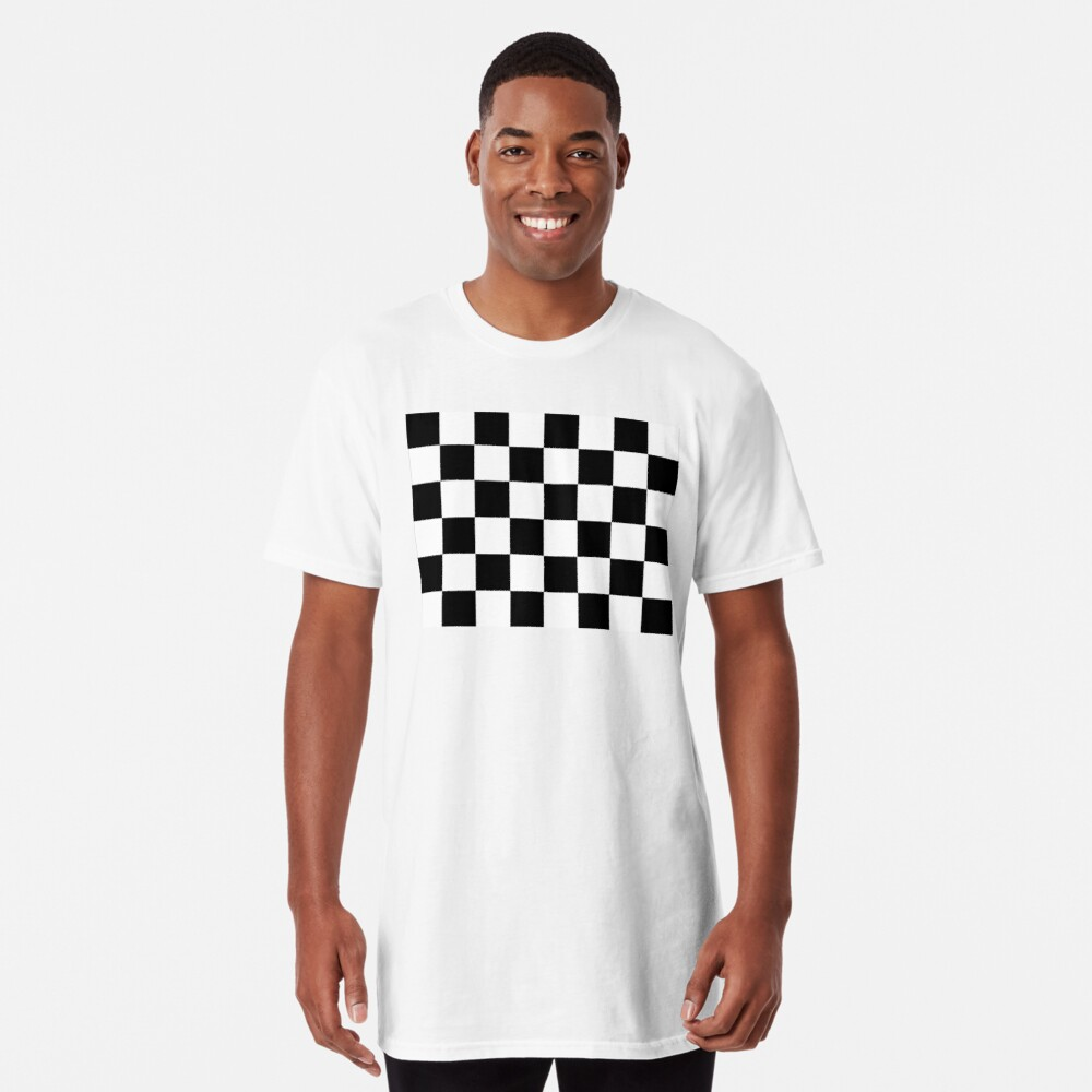 Checkered Flag, Chequered Flag, Motor Sport, Checkerboard, Pattern, WIN, WINNER,  Racing Cars, Race, Finish line, BLACK. Long T-Shirt