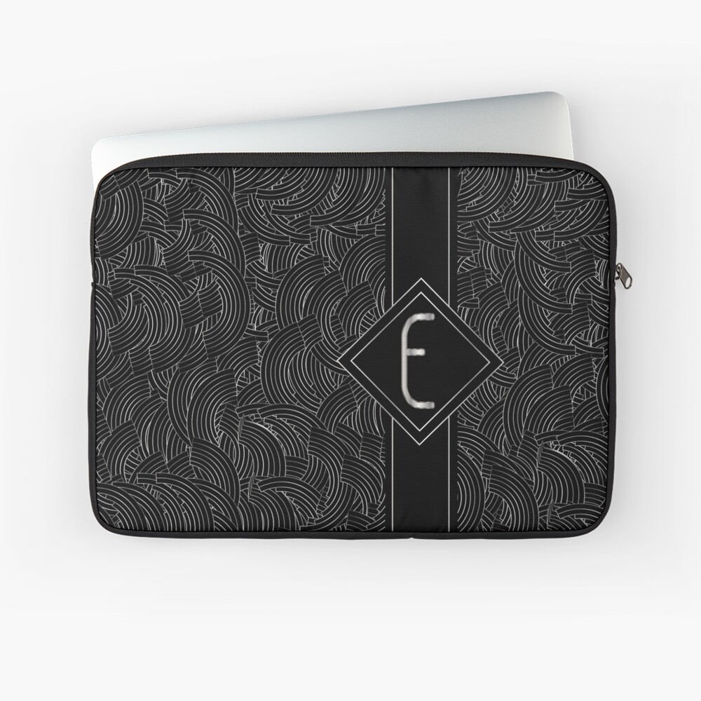 1920s Jazz Deco Swing Monogram black & silver letter E Laptop Sleeve