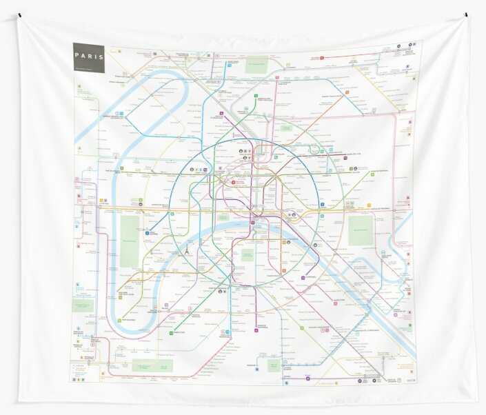 Paris Metro Map Wall Tapestries By Jug Cerovic Redbubble