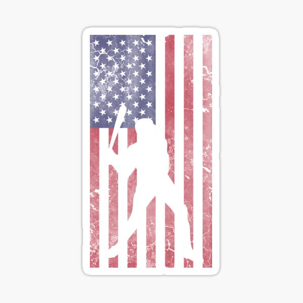 American Flag Baseball Sticker