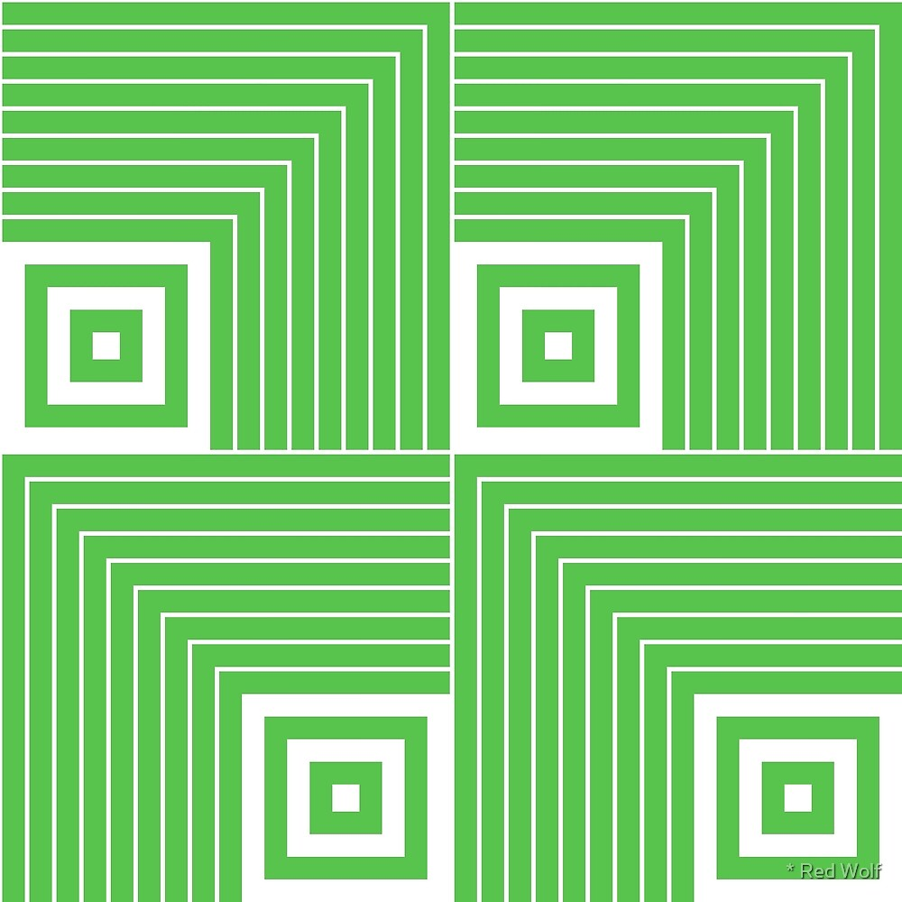 Geometric Pattern: Square Angle: Green by * Red Wolf
