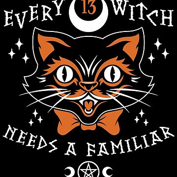 Halloween Witch Black Cat - Lucky Goth Occult Pentagram by Nemons