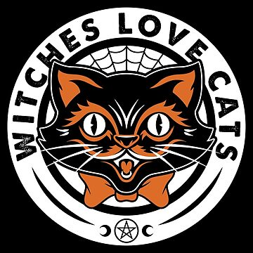 Halloween Witch Black Cat Club - Lucky Goth Occult Pentagram by Nemons
