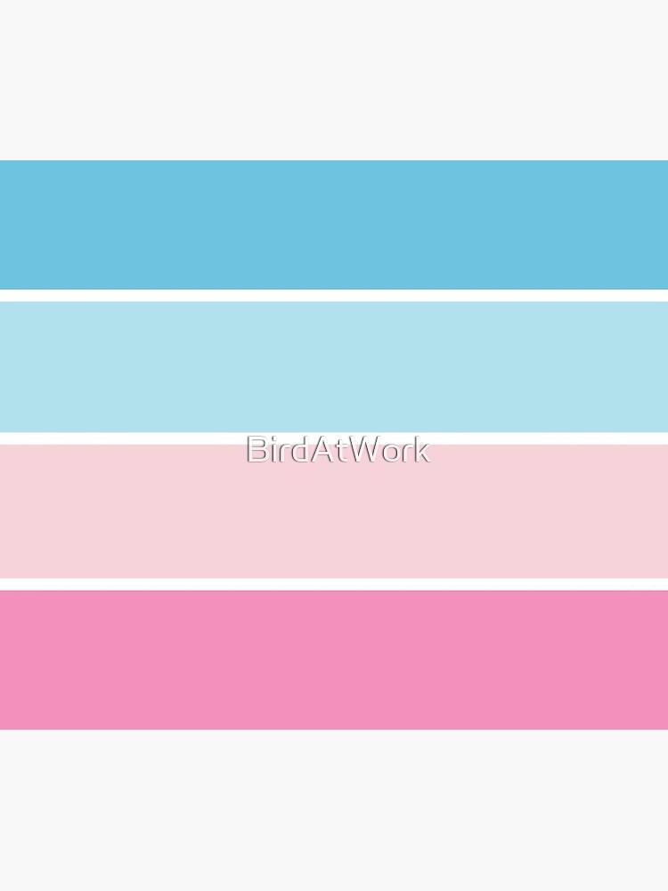 Pastel Pink Blue Horizontal Stripes by BirdAtWork