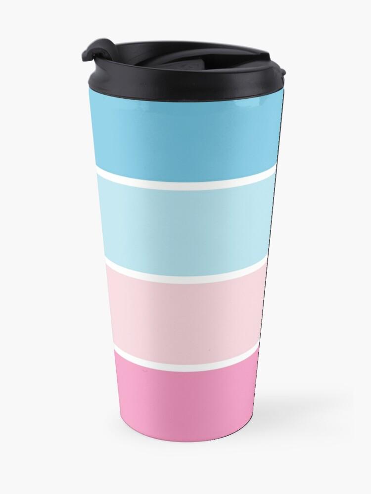 Alternate view of Pastel Pink Blue Horizontal Stripes Travel Mug