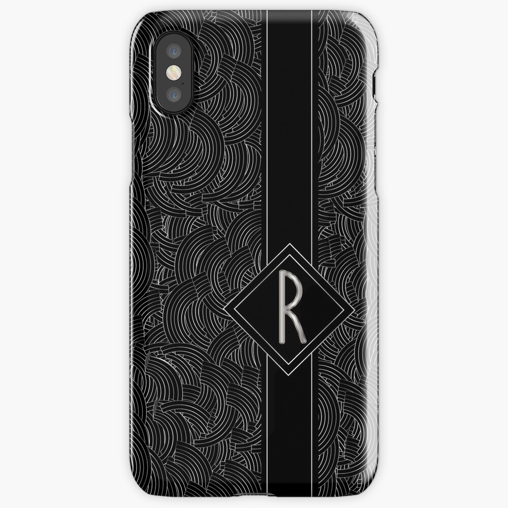 1920s Jazz Deco Swing Monogram black & silver letter R iPhone Case & Cover
