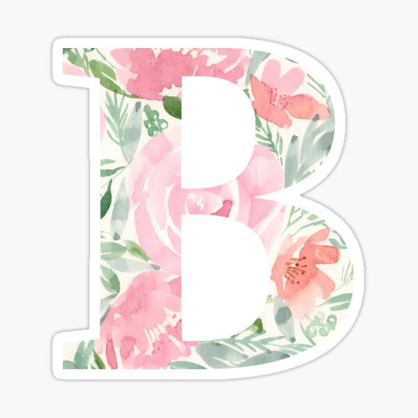 Watercolor floral letter B Sticker