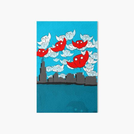 Owl Storm Over Chicago, red white and blue Art Board Print