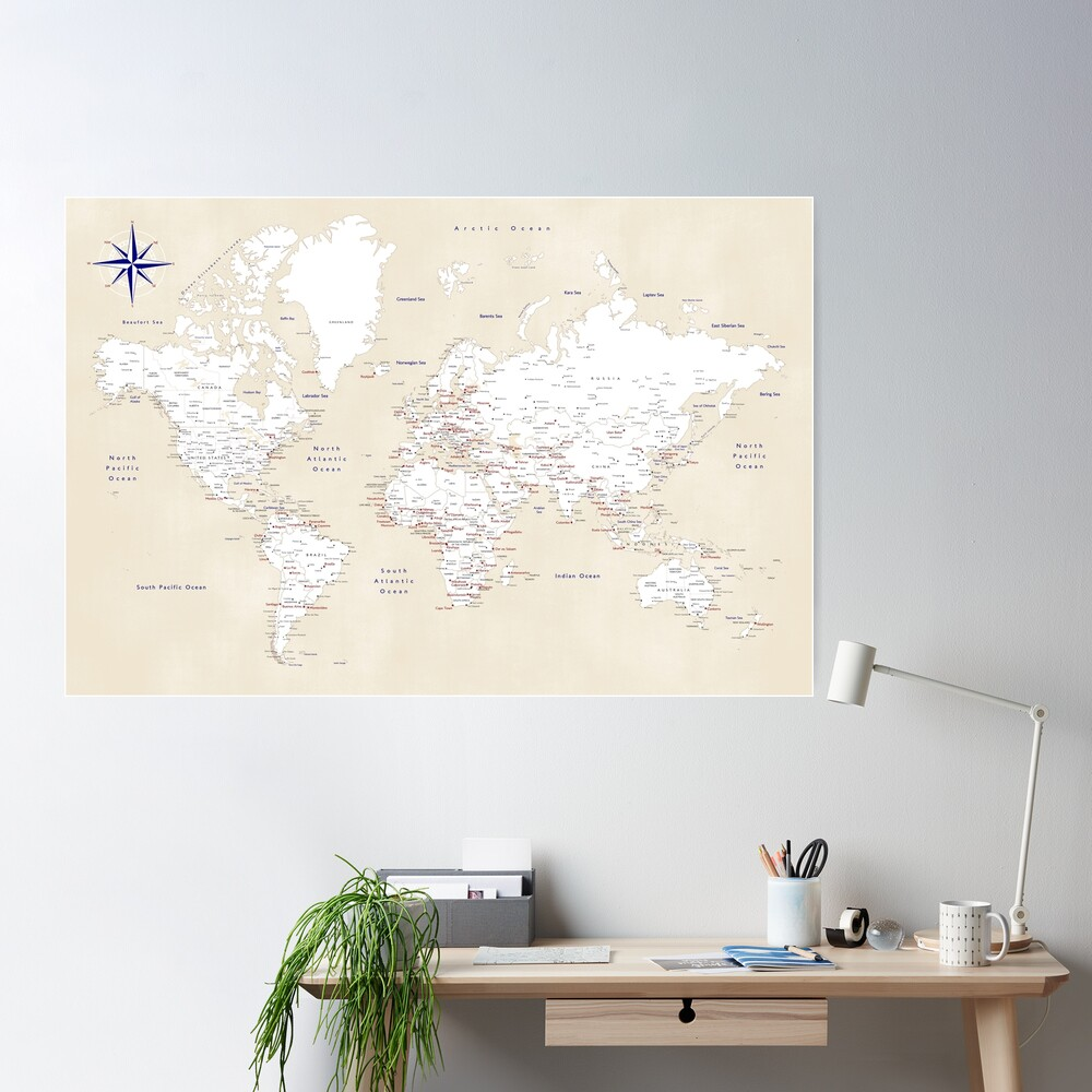 "Cream, white, red and navy blue world map, ""Deuce"" Poster"
