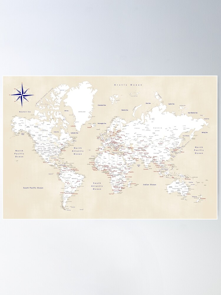 "Alternate view of Cream, white, red and navy blue world map, ""Deuce"" Poster"