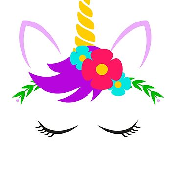 Unicorn face with closed eyes and flowers by playloud