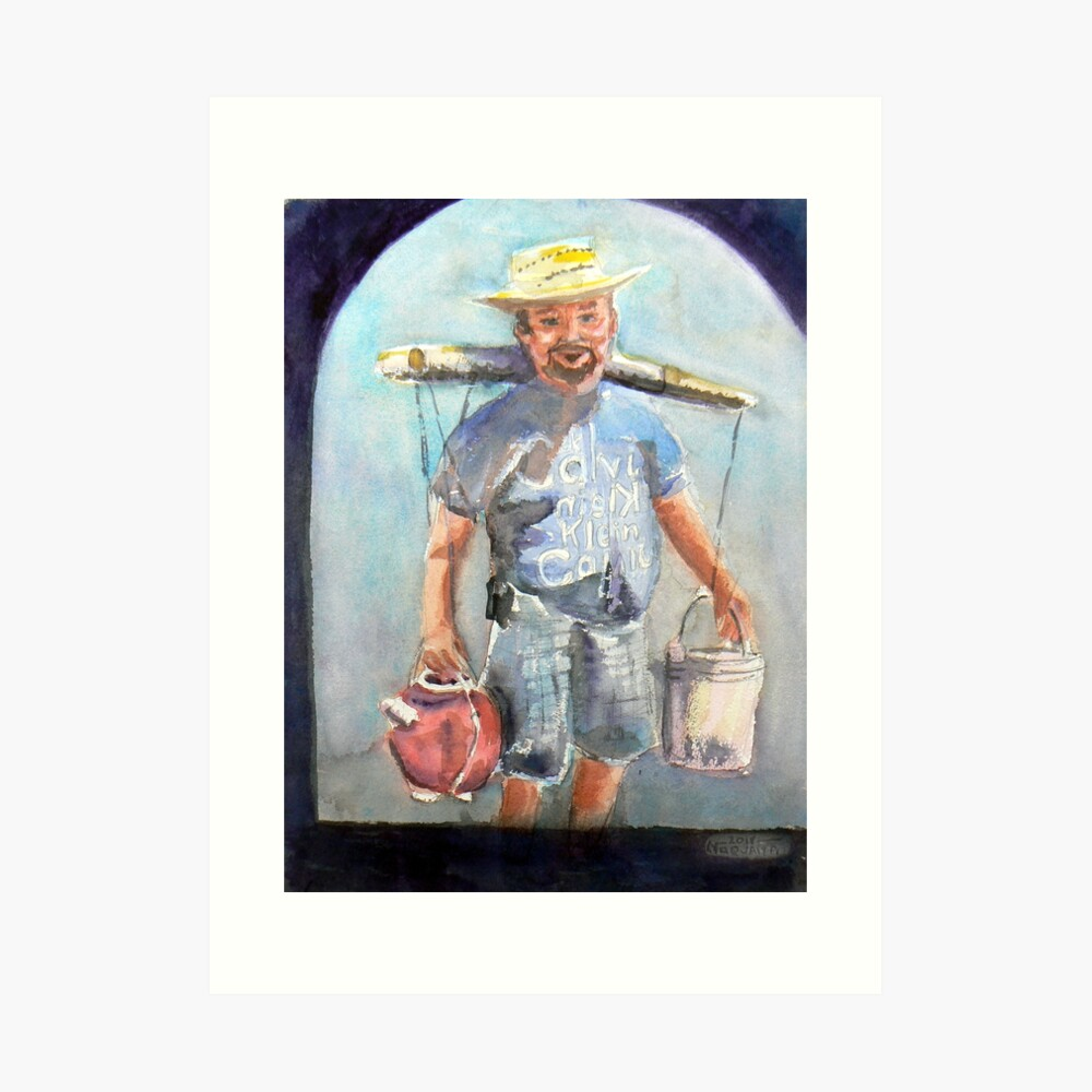 Selling coconut wine in the plaza,watercolor,Mexico Art Print