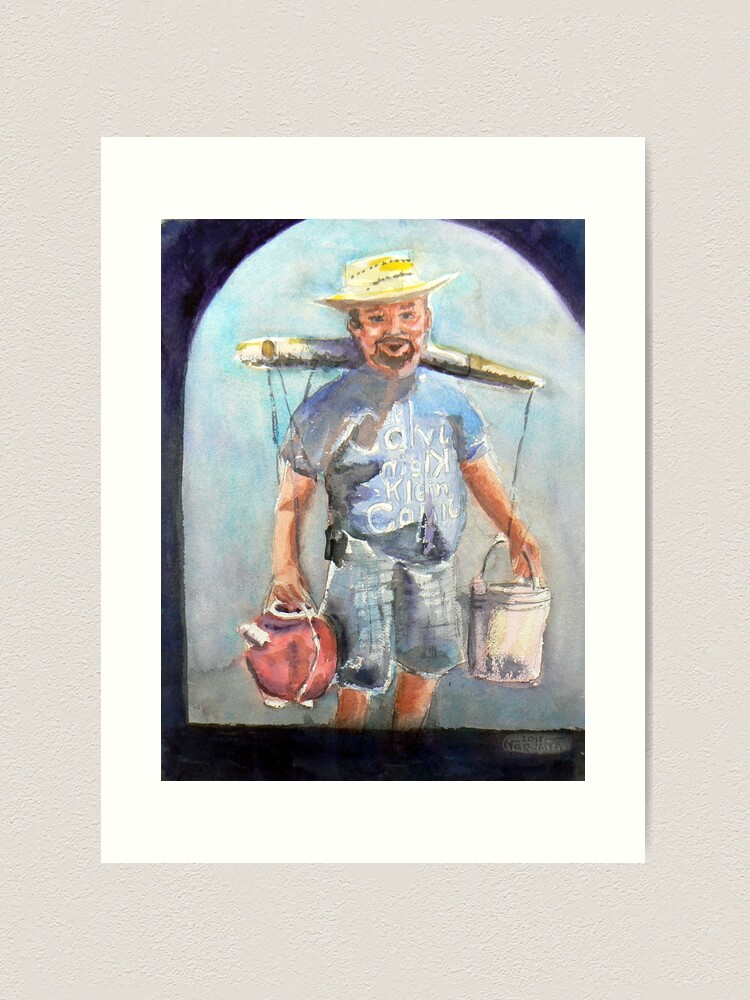 Alternate view of Selling coconut wine in the plaza,watercolor,Mexico Art Print