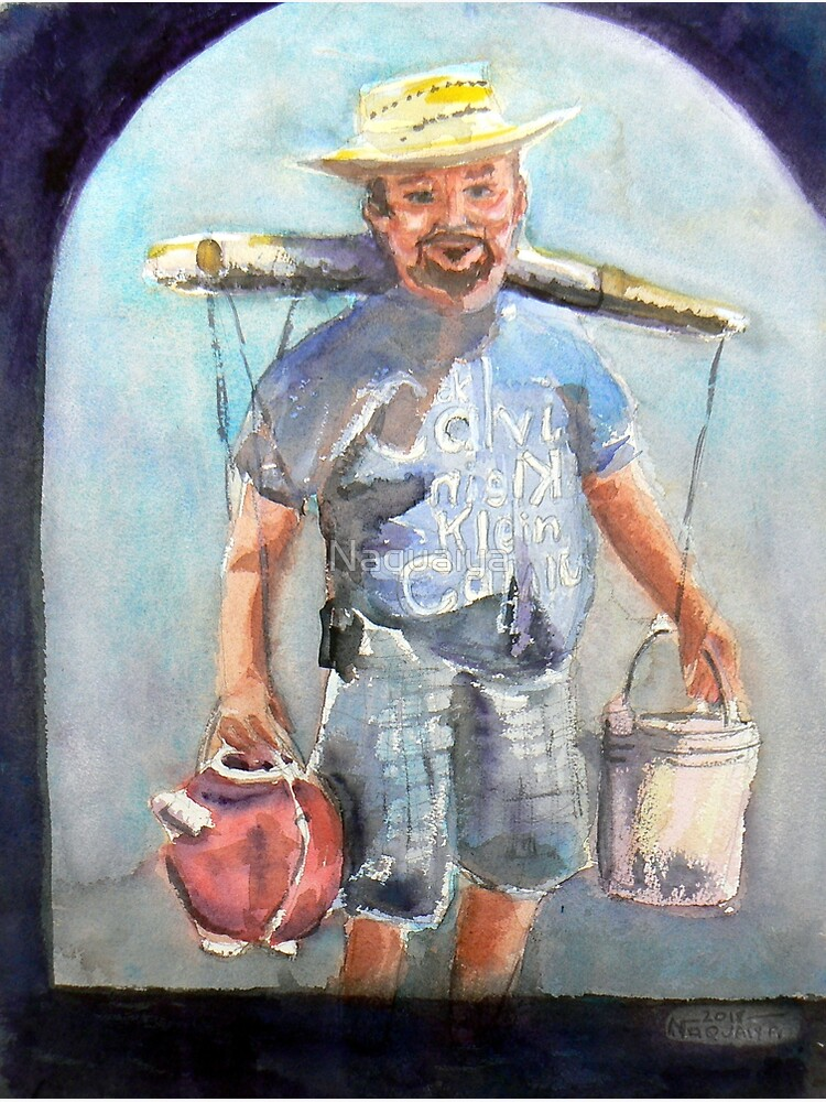 Selling coconut wine in the plaza,watercolor,Mexico by Naquaiya