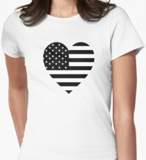 American Flag, BLACK, Heart, Stars & Stripes, Pure & Simple, America, USA Women's Fitted T-Shirt