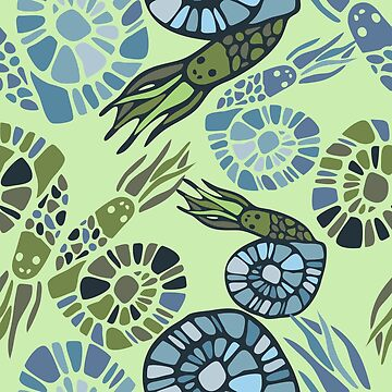 Seamless pattern with stylized ancient animals by talanaart