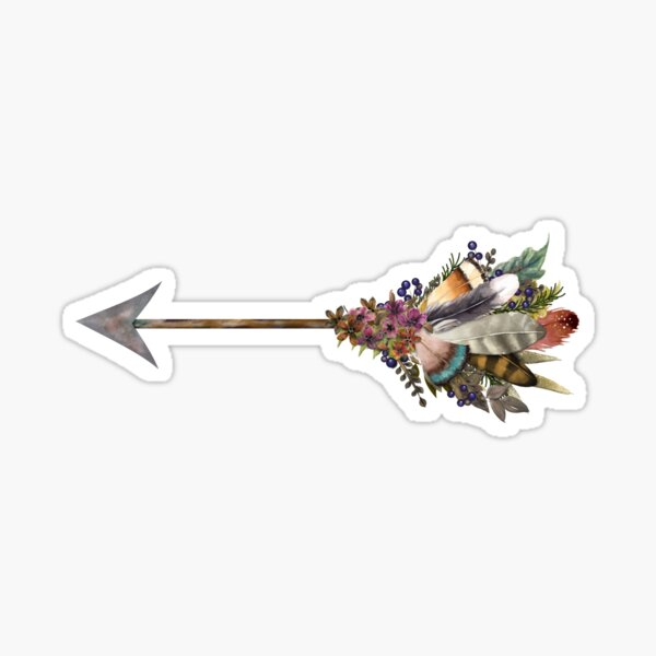Berries, Flowers and Feathers Arrow Sticker