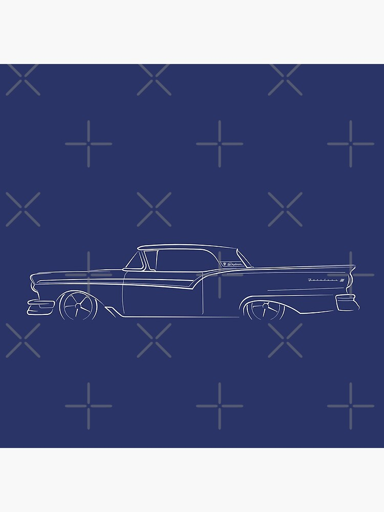 1957 Ford Fairlane 500 Skyliner - profile stencil, white by mal-photography