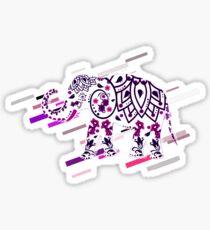 Elephant animal Eighties Retro Violet and Purple Sticker