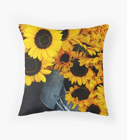 Sunflower Buckets Throw Pillow