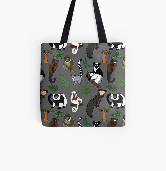 Lemur Pattern All Over Print Tote Bag