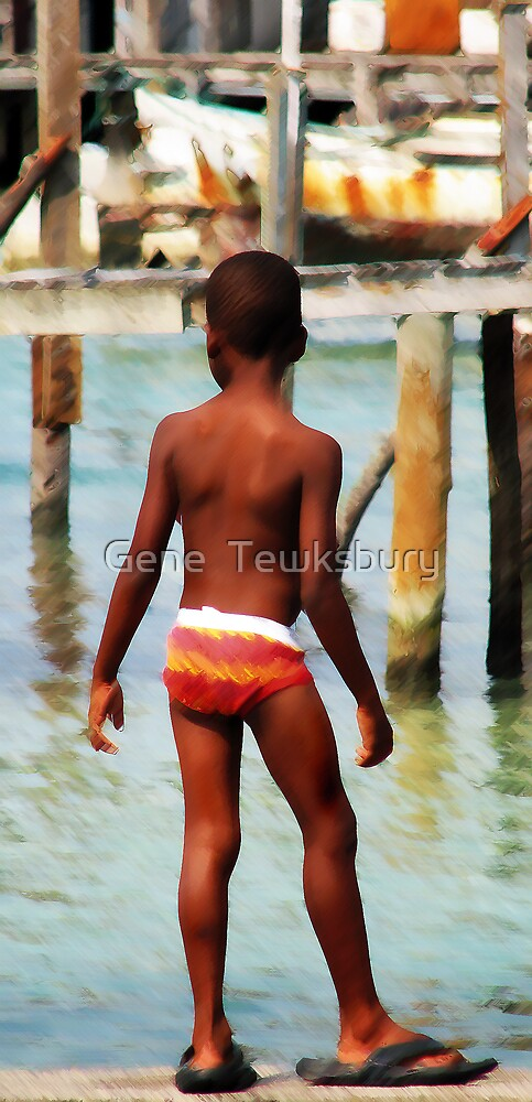 Boy on Dock by Gene  Tewksbury