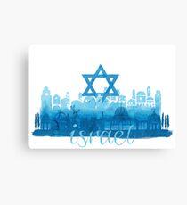 Israel cityscape - watercolor Canvas Print