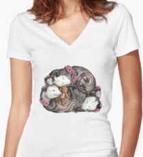 Sleeping Opossums Fitted V-Neck T-Shirt