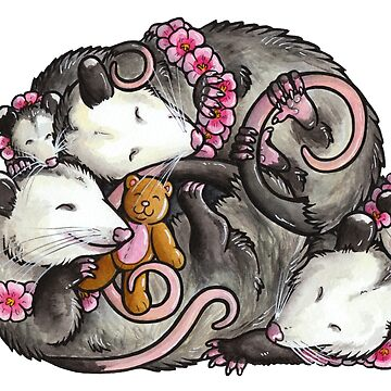 Sleeping Opossums by animalartbyjess