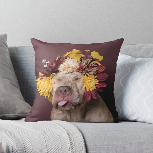 Flower Power, Walter being silly Throw Pillow