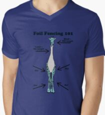 Foil Fencing Giraffe with Instructions Men's V-Neck T-Shirt