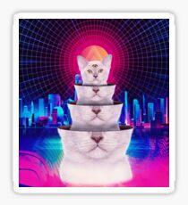 Trippy Three-Eyed Kitten Vintage Retro Punk Style - T-Shirts Sticker