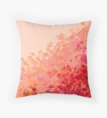 CREATION IN COLOR, CORAL PINK Pretty Girly Ombre Ocean Waves Sea Colorful Splash Abstract Acrylic Painting Throw Pillow