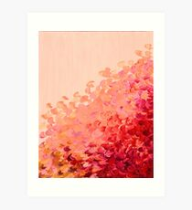 CREATION IN COLOR, CORAL PINK Pretty Girly Ombre Ocean Waves Sea Colorful Splash Abstract Acrylic Painting Art Print