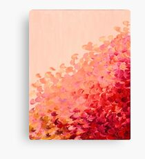 CREATION IN COLOR, CORAL PINK Pretty Girly Ombre Ocean Waves Sea Colorful Splash Abstract Acrylic Painting Canvas Print