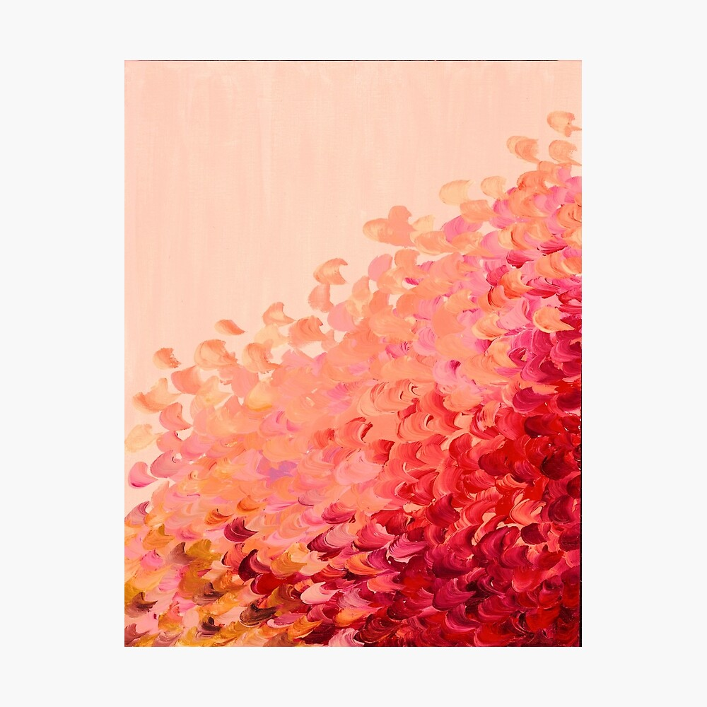 CREATION IN COLOR, CORAL PINK Pretty Girly Ombre Ocean Waves Sea Colorful Splash Abstract Acrylic Painting Photographic Print