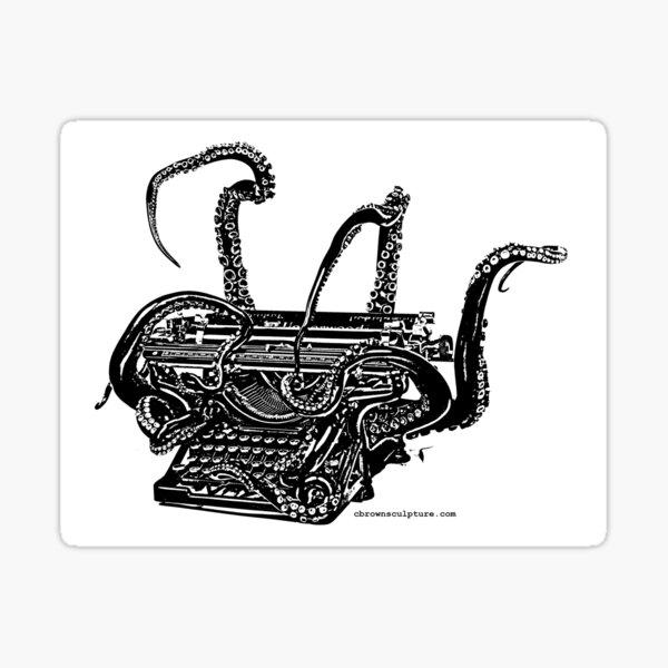 Octopus Typewriter B&W Vintage Image Sticker