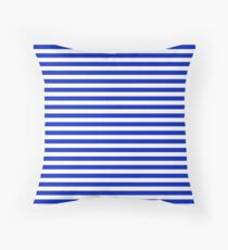 Cobalt Blue and White Thin Horizontal Deck Chair Stripe Throw Pillow