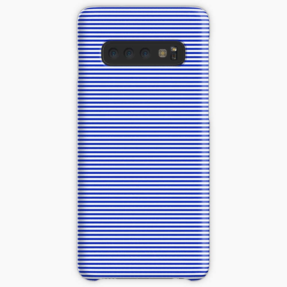 Cobalt Blue and White Horizontal Nautical Sailor Stripe Cases & Skins for Samsung Galaxy