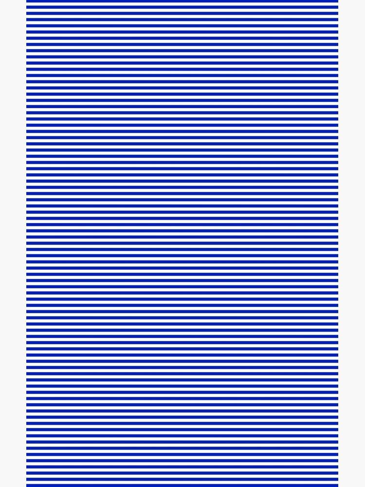 Cobalt Blue and White Horizontal Nautical Sailor Stripe by podartist