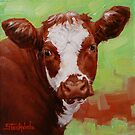 Cute Calf Miniature Painting by Margaret Stockdale