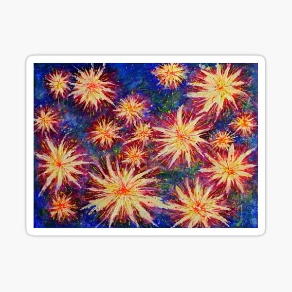 Explosion and Fireworks, celebration of colour and nature, abstract prophetic art Sticker