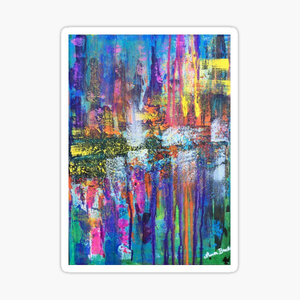 Reflective metropolis - abstract expressionism prophetic original colourful art, cityscape Sticker
