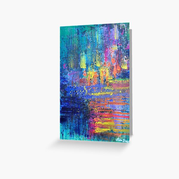 Travel into the sunset - abstract expressionism original prophetic art, colourful, rainbow Greeting Card