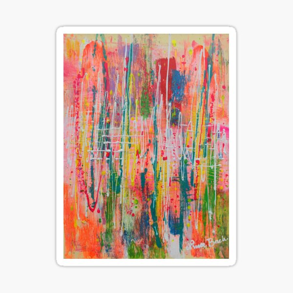 Wildflowers - abstract expressionism prophetic original art, nature, meadow, impressionism Sticker