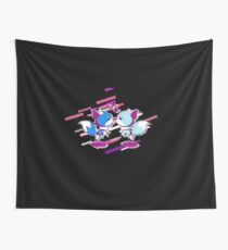Anthropomorphized animals cartoon Eighties Retro Violet and Purple Wall Tapestry