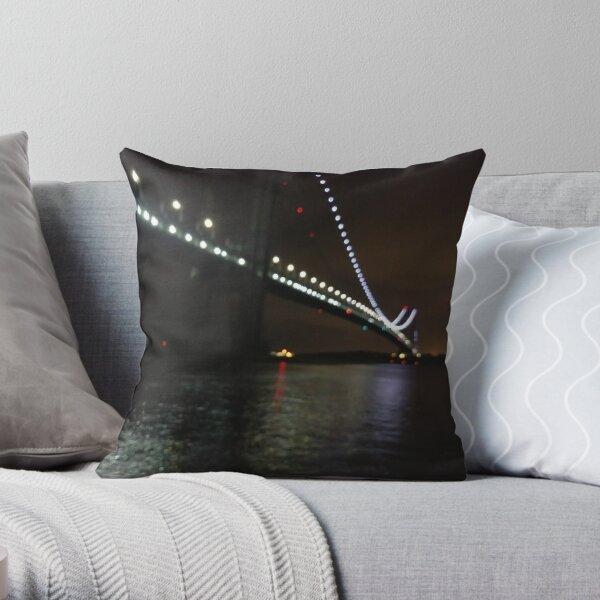 Verrazano Narrows Bridge, #Verrazano, #Narrows, #Bridge, #VerrazanoNarrowsBridge, #VerrazanoBridge, #NewYorkCity, #NewYork, #Brooklyn, #StatenIsland, #water, #night Throw Pillow