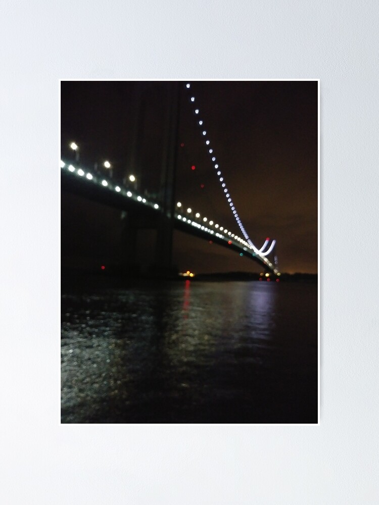 Alternate view of Verrazano Narrows Bridge, #Verrazano, #Narrows, #Bridge, #VerrazanoNarrowsBridge, #VerrazanoBridge, #NewYorkCity, #NewYork, #Brooklyn, #StatenIsland, #water, #night Poster