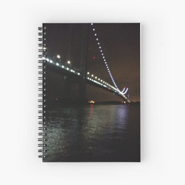 Verrazano Narrows Bridge, #Verrazano, #Narrows, #Bridge, #VerrazanoNarrowsBridge, #VerrazanoBridge, #NewYorkCity, #NewYork, #Brooklyn, #StatenIsland, #water, #night Spiral Notebook