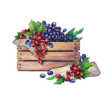 Watercolor wooden box of grapes decorated with leaves by Glazkova